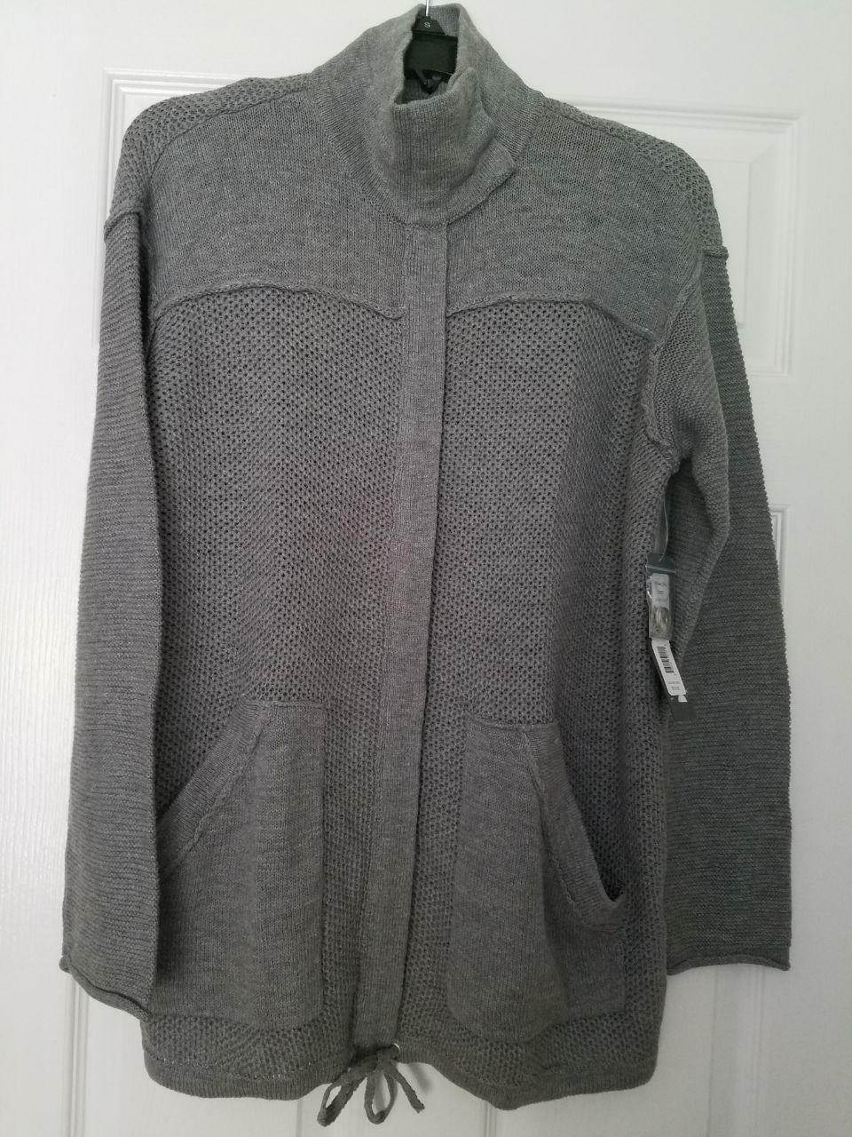 NWT Michel Stars Zip Up Knit Anorak Long Sleeves Heather Grey Size M L SC627