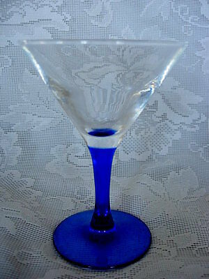 Collectible Cobalt Blue & Crystal Blown Glass Wine Goblet - Made in France