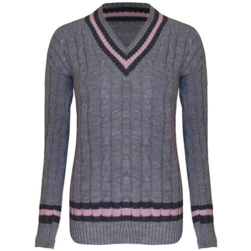 Womens Vneck Cable Knitted Sweater Stretch Long Sleeve Ladies Top Cricket Jumper