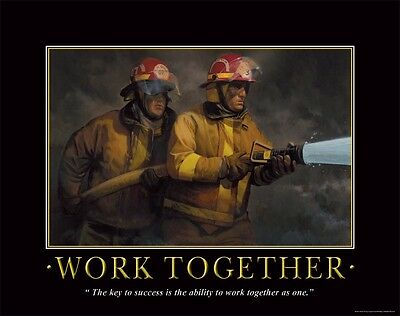 Firefighting Motivational Poster Art Fireman Equipment Badge Helmet Tools PRO04