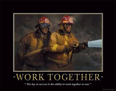 Firefighting Motivational Poster Art Fireman Equipment Badge Helmet Tools PRO04