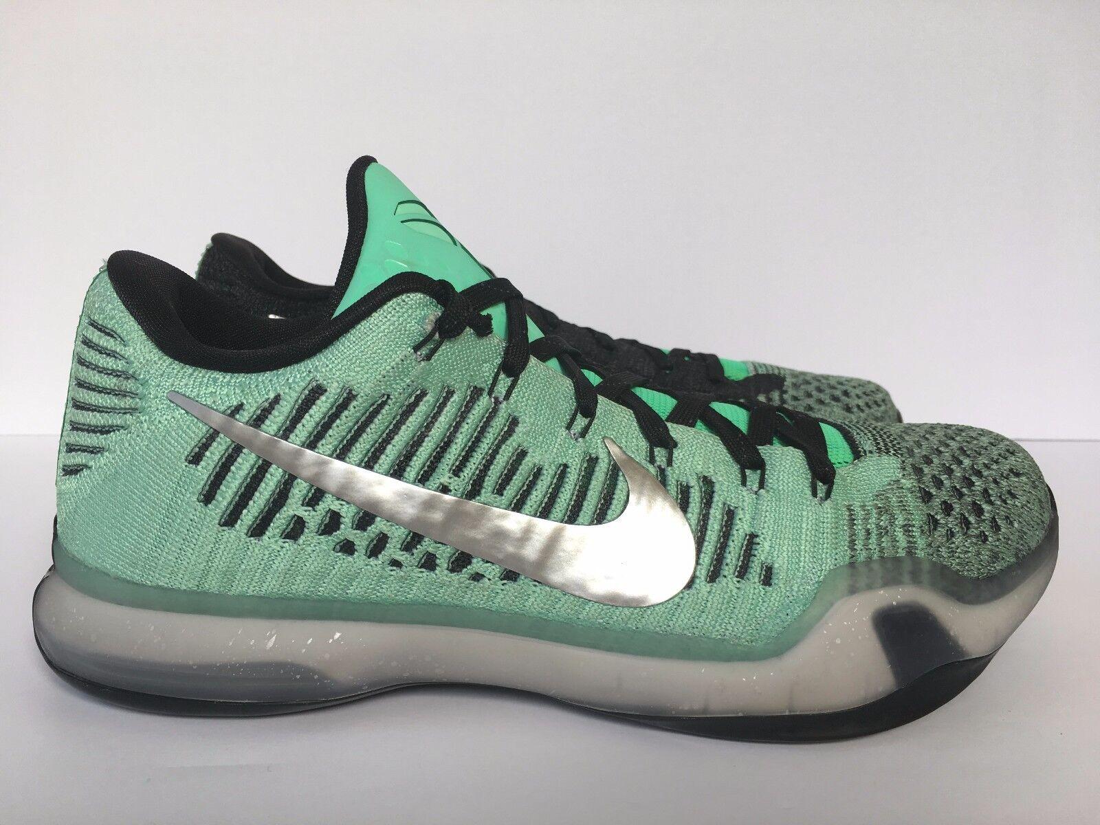 Nike Kobe X 10 Elite Low Flyknit iD Green Black   SZ 8.5 ( 802817-992 )