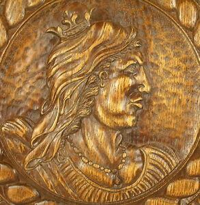 Profilo Di Regina Francia Bassorilievo Per Vecchio Intagliato Legno Panel 30cm