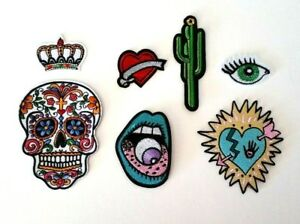 Sacred heart sugar skull evil eye patch set 📍embroidery sew iron