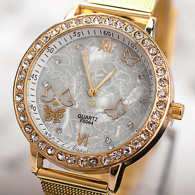 Women's Fashion Butterfly Quartz Wrist Watch Mesh Band Rhinestone Analog Watches