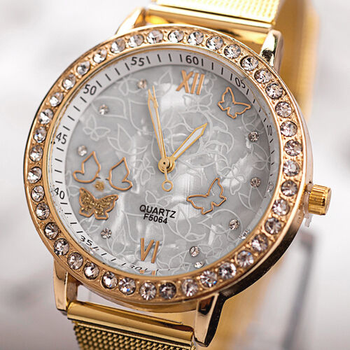 Lady Women Golden Band Butterfly Bracelet Watches Quartz Rhinestone Wrist Watch