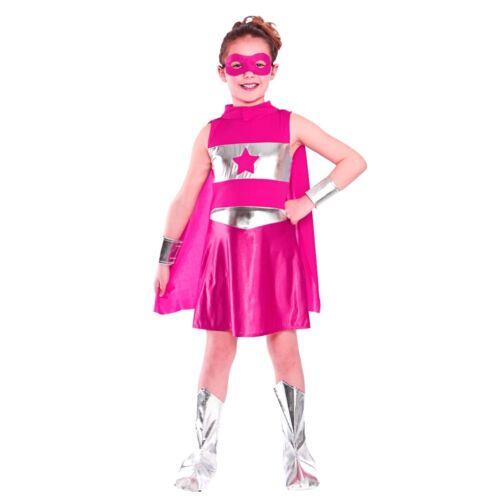 PINK SUPERHERO Girls Costume Comic Book Fancy Dress Costume Kids Outfit Age 3-13