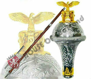"100% Vrai Hs Tambour Major Mace Stick Estampé Eagle & Crown Gold Head 60"" Sac-afficher Le Titre D'origine"