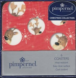 Peekaboo Reindeer Pimpernel Christmas Collection Cork Backed Coasters Set of 6
