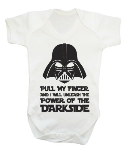 Pull my Finger Darth Vader funny cute baby grow bodysuit