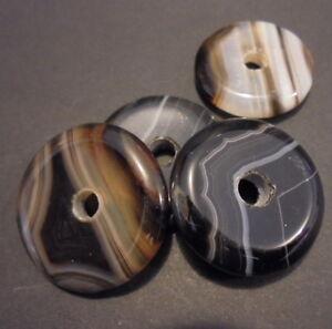 PENDENTIF PERLE PIERRE NATURELLE AGATHE RUBANNEE A+ 27 mm NATURAL STONE PENDENT