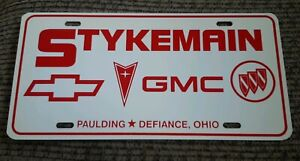 stykemain chevrolet chevy pontiac gmc buick license plate paulding ohio dealer ebay ebay