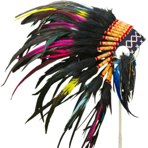 Electric Indian Style KIDS SIZE Feather Headdress ADJUSTABLE