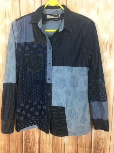 34 Collared Patchwork Topshop 6 Shirt Women's Long Blue Moto Ladies Sleeve XAvA1wq