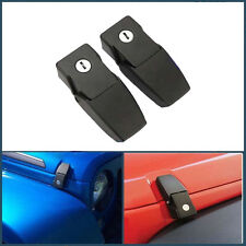 Pair Black Car Rampage Locking Hood Catch Latches Kit For Jeep Wrangler JK 07-16