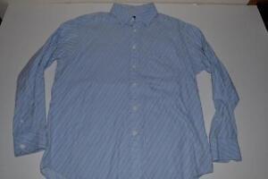 Large Bugatchi Blau L Weiß Uomo Taschenkleid Hemd Herrengröße Gestreiftes SR07q