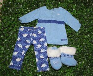 American Girl Doll Polar Bear PJ Pajama Top Blue