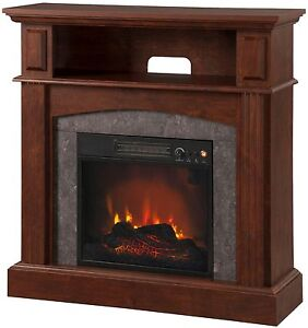 Fireplace TV Stand Living Room Electric Flame Heater Adjustable Temp NO TAX