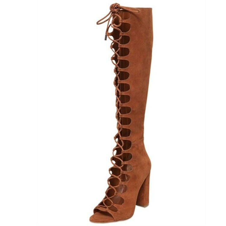 Bloque De De De Mujer Con Cordones Tacón Alto Puntera Abierta Gladiador Zapatos de moda hasta la rodilla Boors  Mercancía de alta calidad y servicio conveniente y honesto.