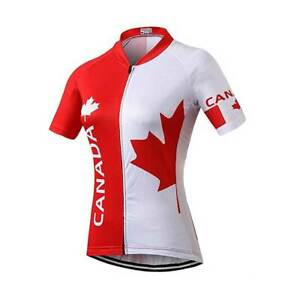 Donna Estate Ciclismo in jersey shirt Red Maple Leaf Bici Top S-5XL