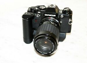 Olympus-OM10-Black-with-Sigma-70-210-lens-amp-film-winder