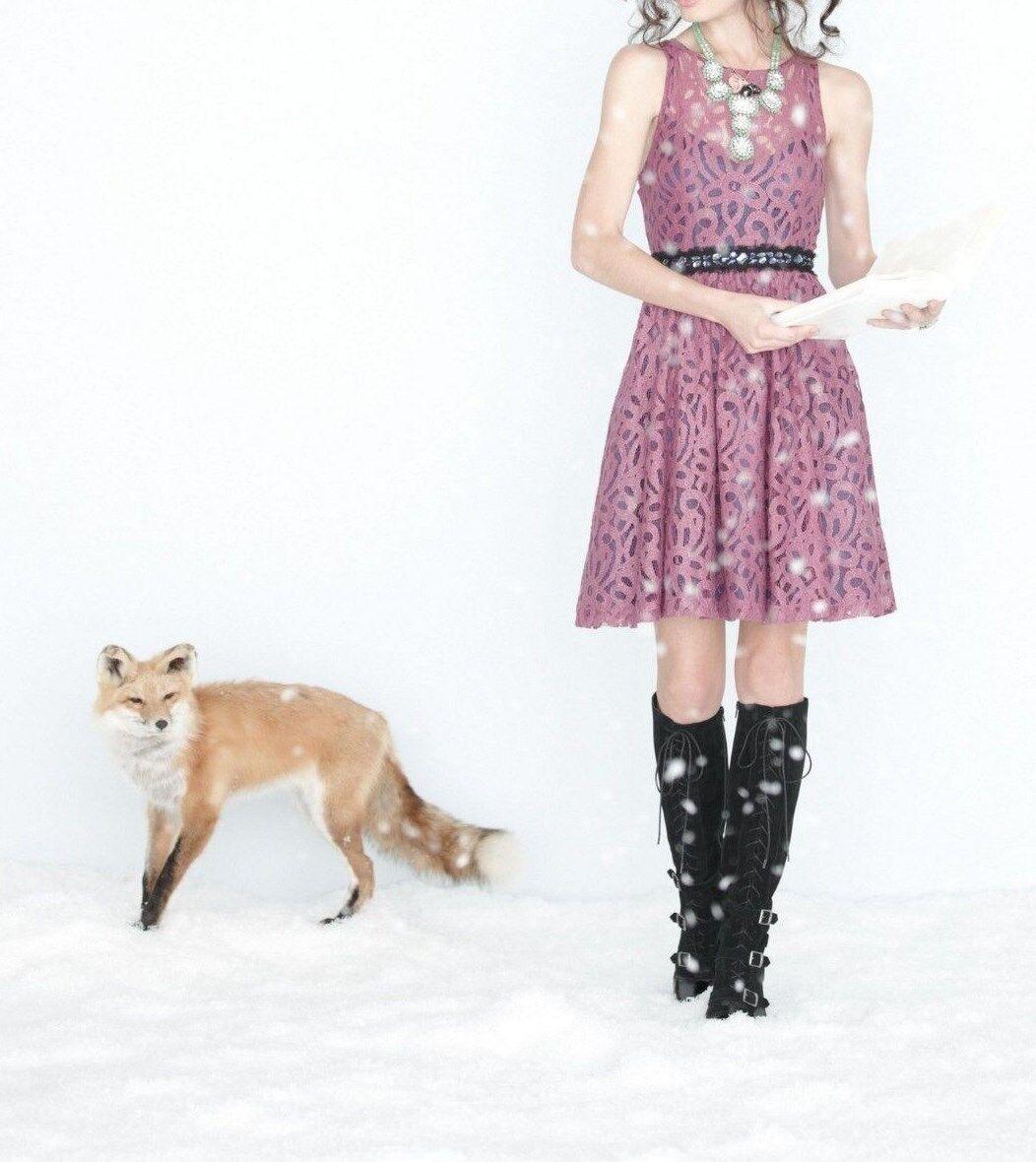 Anthropologie Mariposa Lace Dress Plenty by Tracy Reese Plum Größes 10, 12P NEW