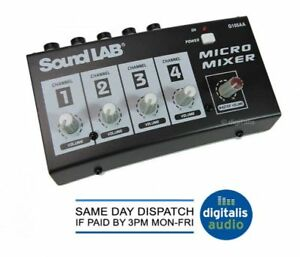 Soundlab-4-Channel-Mono-DJ-Karaoke-Microphone-Mic-Mixer-Mains-or-Battery-Powered