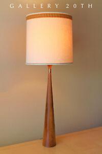 Wow Hansen Mid Century Danish Modern Table Lamp Teak Atomic Vtg