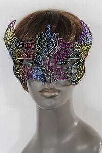 Women-Men-Half-Face-Eye-Costume-Mask-Black-fabric-Bull-Devil-Horns-Net-Halloween