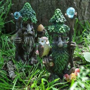 Pair-of-Tree-Ents-Greenman-Garden-Ornaments-Lawn-Decorations-Green-Man