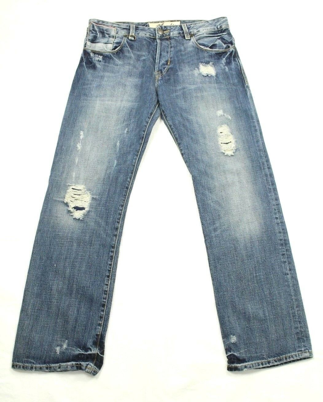 Claudio Milano Herren Jeans Distressed Gerade Jeans     | Schöne Kunst