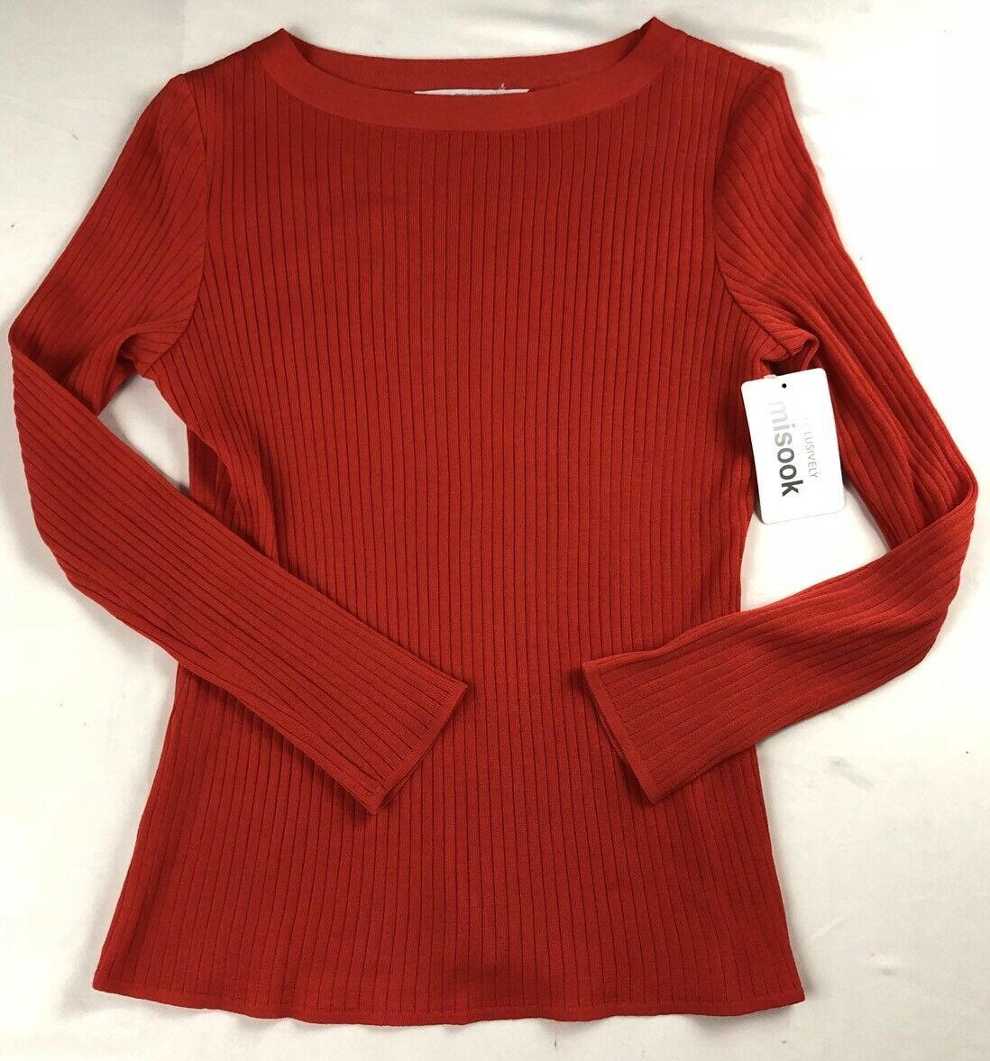 NEW NWT EXCLUSIVELY MISOOK PETITE Ribbed Sweater orange L S MEDIUM M CJ