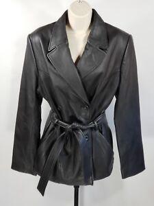 cuir noir Valerie Dbl en ceinture noir L cuir Stevens Manteau de mouton en avec T74qnt7fw