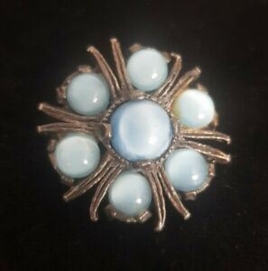 Vintage-MIRACLE-small-Brooch-Celtic-Scottish-Pin-blue-Stones-silvertone-vtg