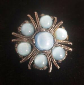 Vintage MIRACLE small Brooch Celtic Scottish Pin blue Stones silvertone vtg