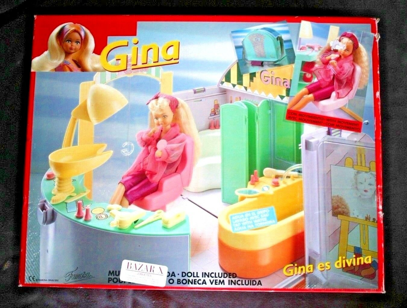 MUÑECA GINA (FAMOSA 1991, DOLL)  CUARTO ASEO (BATHROOM VANITY), Agua, Luz  NEW