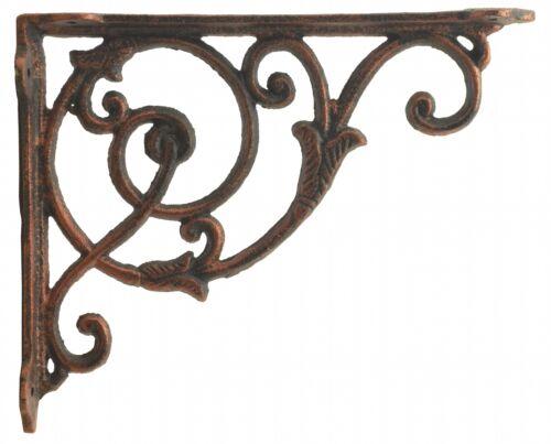 "Decorative Cast Iron Wall Shelf Bracket Brace Ornate Vine Bronze Decor 8.5/"" Deep"
