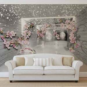 WALL MURAL PHOTO WALLPAPER XXL Snow Flowers And Silver Spheres ...