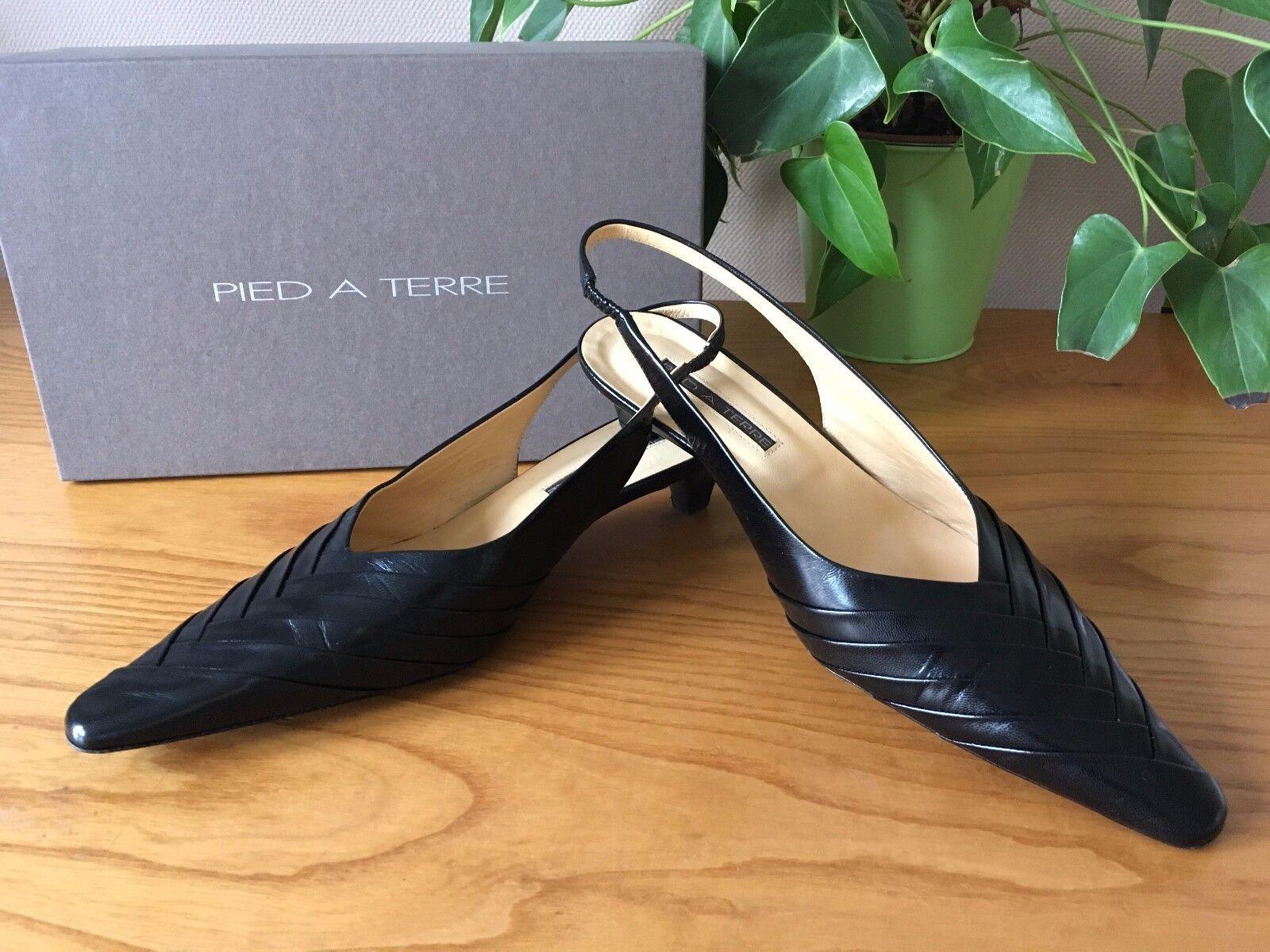 Pied A Terre Terre Terre Negro todo el cuero charol Tribunal Zapatos UK 5 EU 38 Nuevo Y En Caja  precios mas bajos