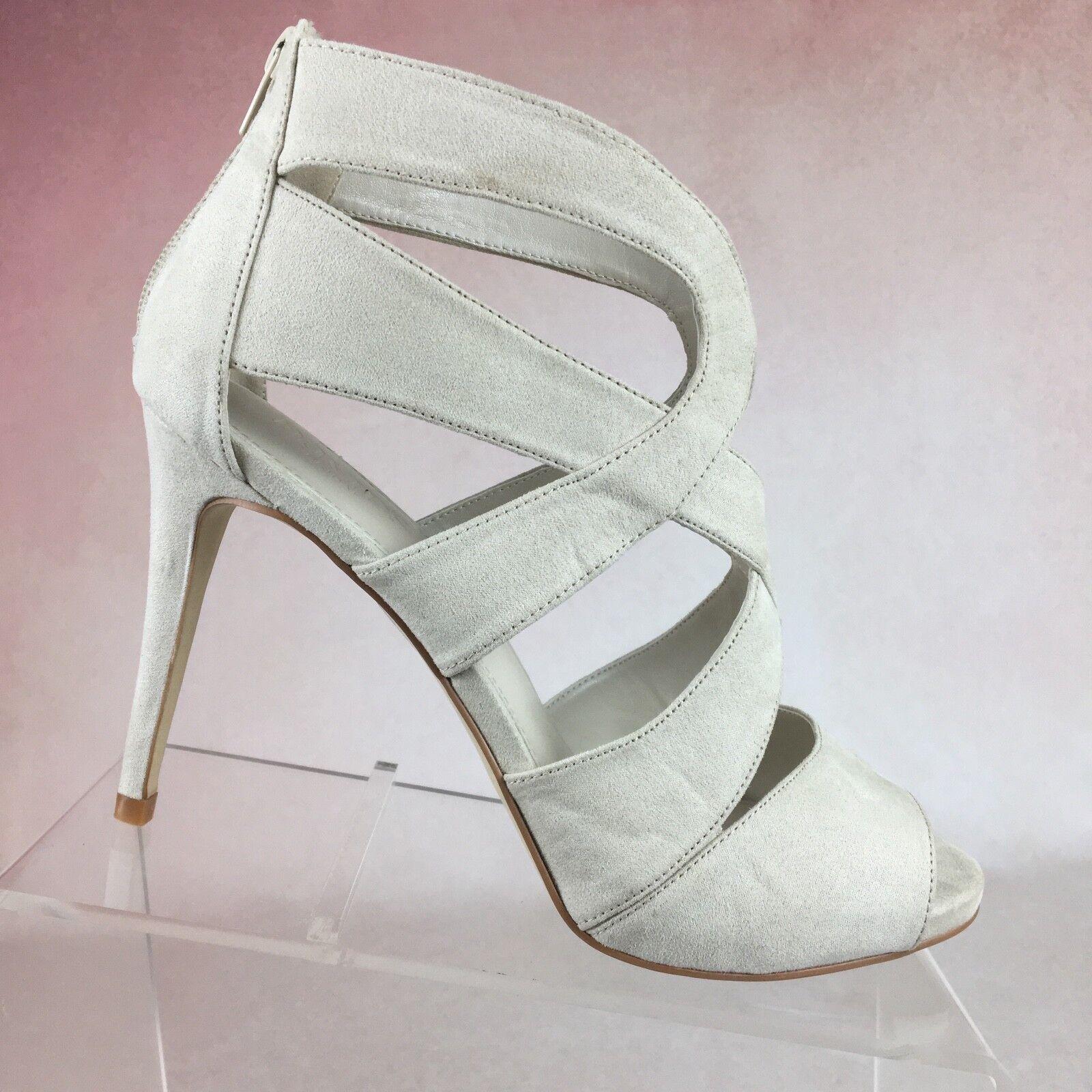 DAVID's BRIDAL Keira Beige Strappy Stiletto Heels 10M Back Zipper Shoes Women's 10M Heels 3d820b