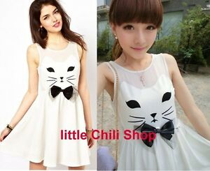 Girls-Kawaii-Cute-Sweet-Dolly-Lolita-Princess-Slim-Print-Cat-Sleeveless-Dress