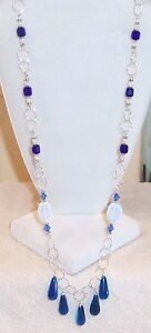 GALAXY-Deep-Blue-Glass-Crystal-Silver-28-034-Chain-Necklace