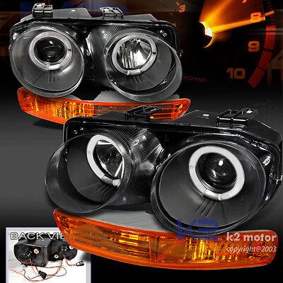 1998-2001 Acura Integra Projector Black Headlight+Amber Bumper