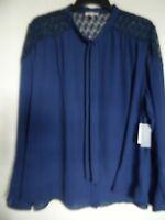 Halo Top Blouse Womens Plus Size 3x Blue Lace Shoulders Long Sleeve Blouse