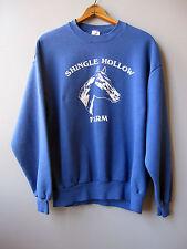 Vintage Simple Horse Farm Sweatshirt Blue 50/50 Large