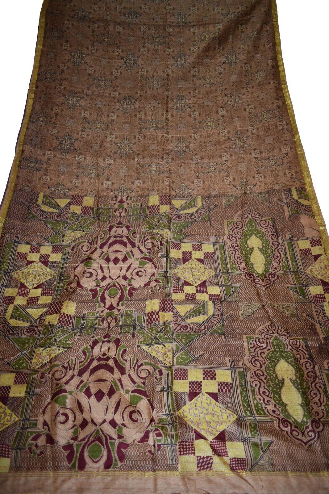 Vintage Printed Saree Brown100% Pure Silk Floral Print Sari Design Craft IPR3365