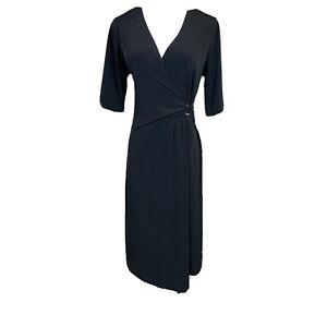 Tahari-Women-s-Faux-Wrap-Shortsleeve-Dress-Size-Large-Black-Classic-Stretch