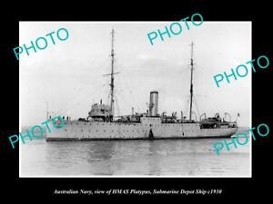 OLD-HISTORIC-PHOTO-OF-AUSTRALIAN-NAVY-HMAS-PLATYPUS-SUBMARINE-DEPOT-SHIP-c1930