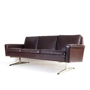 Retro Vintage Danish Ski Leg Leather 3 Seat Seater Sofa Mid Century 50s 60s 70s