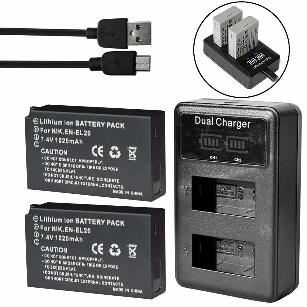 2 Battery for Nikon DL24-500 F/2.8-5.6, Coolpix P1000 EN-EL20a +LCD DUAL Charger